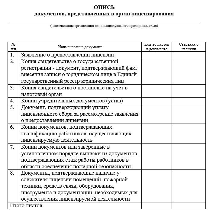 Образец описи предоставляемых документов на получение лицензии МЧС